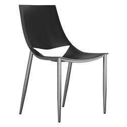 Modloft Black Sloane Modern Dining Chair in Black Leather + Carbon Steel