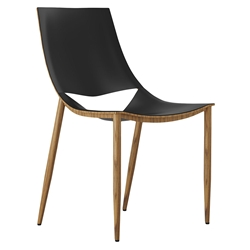 Modloft Black Sloane Modern Dining Chair in Black Leather + Teak Wood