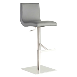 Smith Gray Padded Leatherette + Brushed Stainless Steel Modern Adjustable Height Stool
