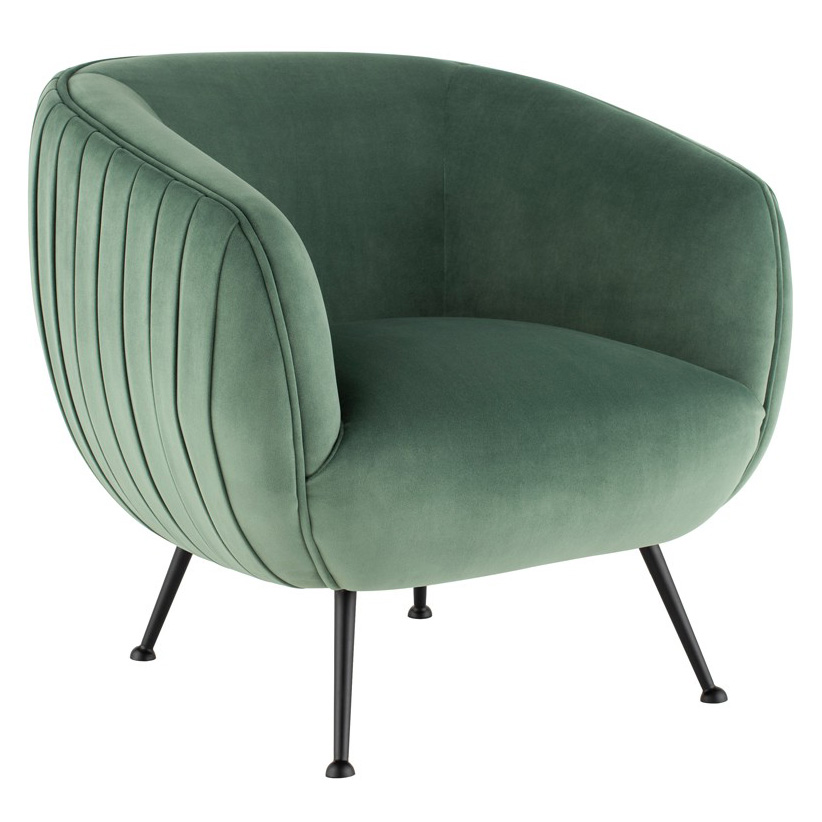 Sofia Contemporary Occasional Chair in Moss Green Velour Upholstery with Matte Black Stainless Steel Legs by Nuevo