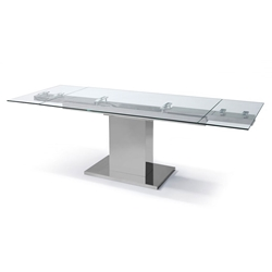 Slim Modern Glass Extension Dining Table