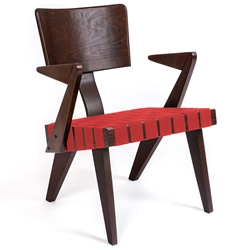 Spanner Contemporary Chair by Gus Modern in Dark Birch with Red