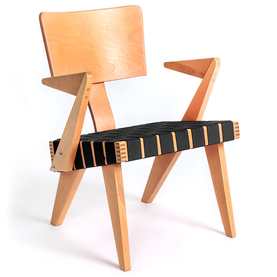Spanner Contemporary Chair by Gus Modern in Light Birch with Black