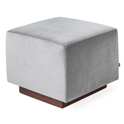 Sparrow Modern Glider Ottoman in Velvet London Fabric with Walnut Wood Base