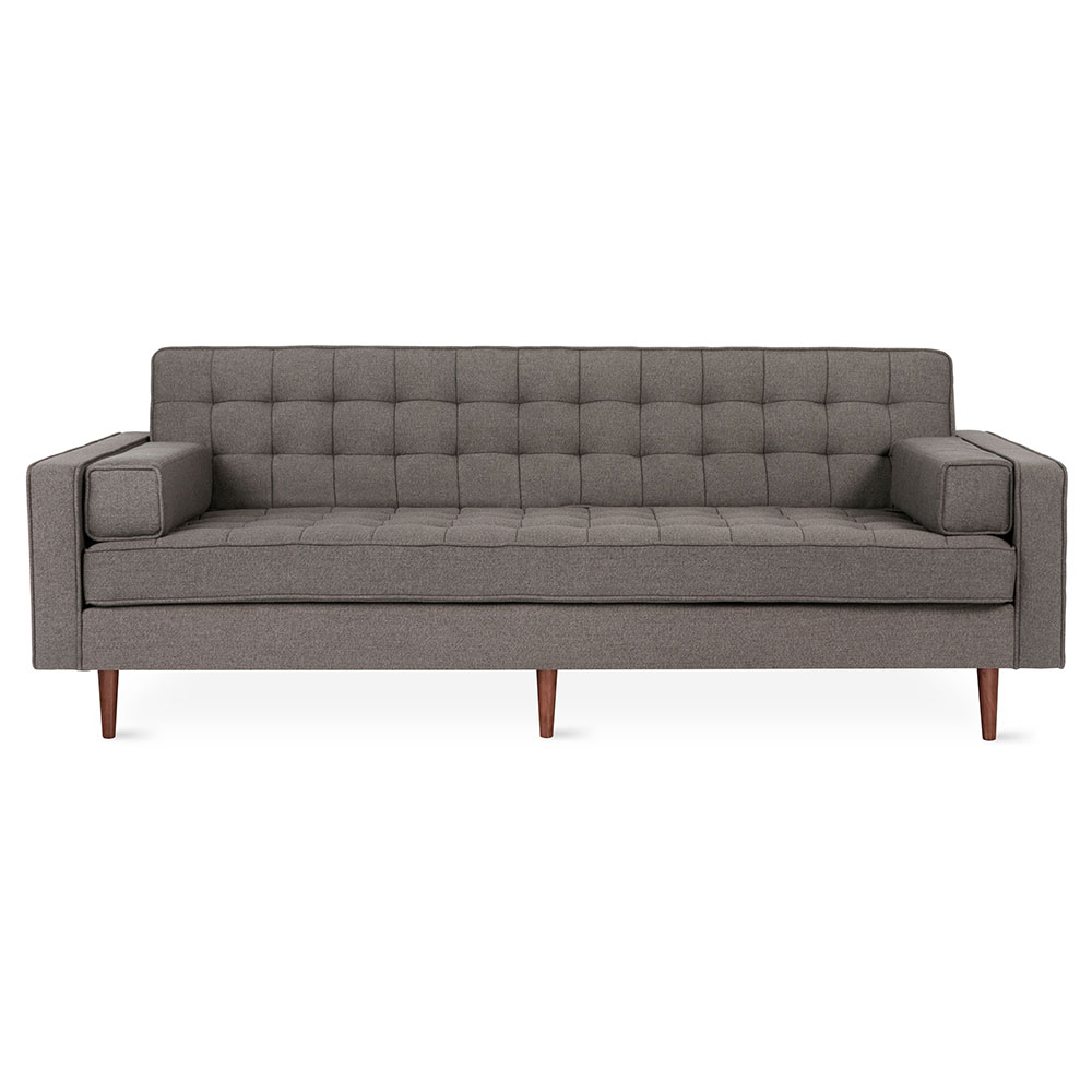 Gus* Modern Spencer Sofa in Bayview Osprey Fabric Upholstery with Walnut Wood Base