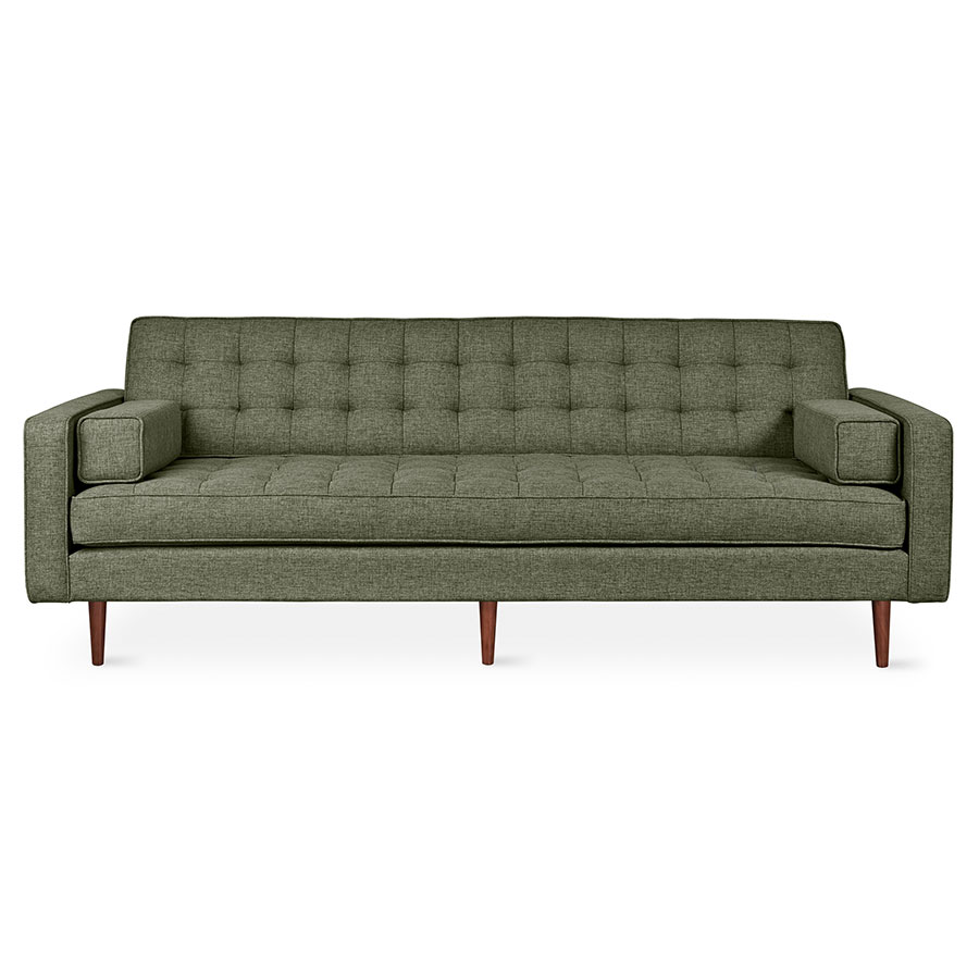 Gus* Modern Spencer Sofa in Parliament Moss Fabric Upholstery with Walnut Wood Base
