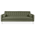 Gus* Modern Spencer Sofa in Parliament Moss Fabric Upholstery with Stainless Steel Base