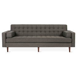 Spencer Mid Century Modern Style Sofa in Totem Storm Fabric Upholstery with Walnut Wood Base by Gus* Modern