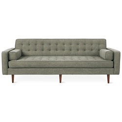 Gus* Spencer Walnut Modern Tufted Sofa in Vintage Army Upholstery