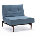 Splitback Modern Chair - Light Blue + Dark Wooden Legs - Upright