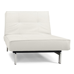 Splitback Lounge Chair in White Leather Look + Stainless by Innovation