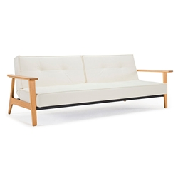 Splitback Frej Sleeper in White Leather Look by Innovation
