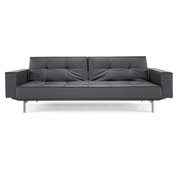 Splitback Modern Sofa Sleeper with Arms - Black