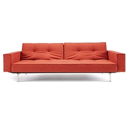 Splitback Modern Sofa Sleeper with Arms - Burned Orange