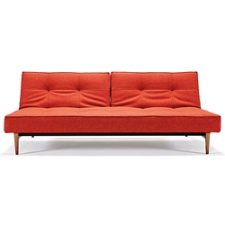 Splitback Modern Sleeper - Orange + Dark Wooden Legs by Innovation