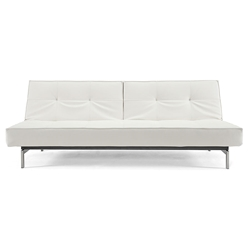 Splitback Modern Sofa Sleeper in White Leather Look