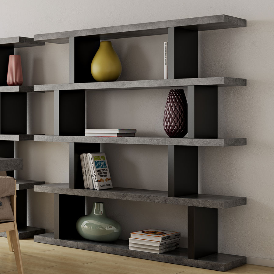 Perfect ... Step High Modern Black + Faux Concrete Staggered Bookcase