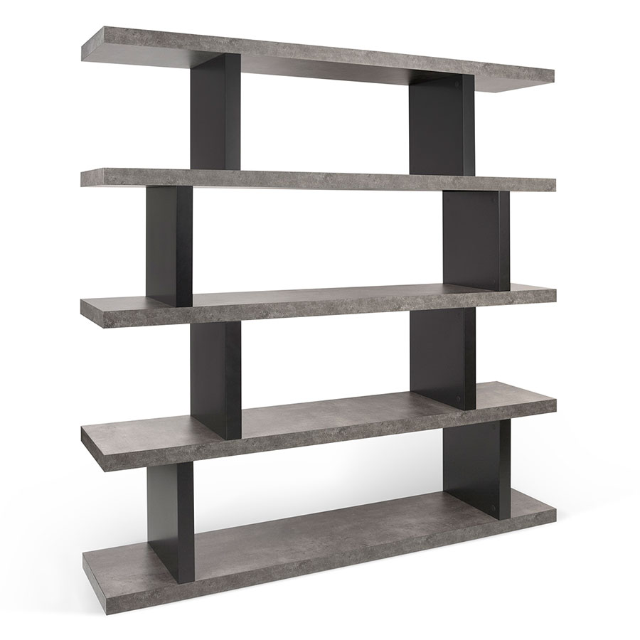 Exceptional Step High Modern Black + Faux Concrete Bookcase