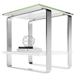 BDI Stream Contemporary White End Table