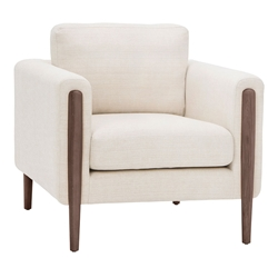 Strom Sand Fabric + Walnut Wood Modern Arm Chair