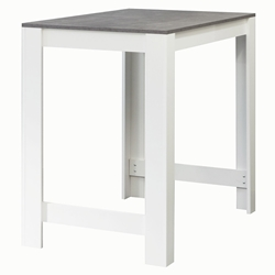 Sulens 43x28 Modern White + Concrete-Look Bar Table by TemaHome