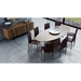 Modloft Sullivan Walnut Oval Modern Dining Table - Room Setting, Above