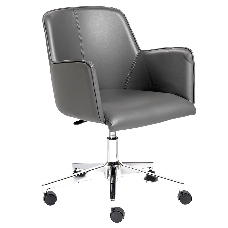 Summit Professional Grade Gray Leatherette + Chromed Steel Modern Office Chair