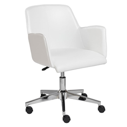 Summit Professional Grade White Leatherette + Chromed Steel Modern Office Chair