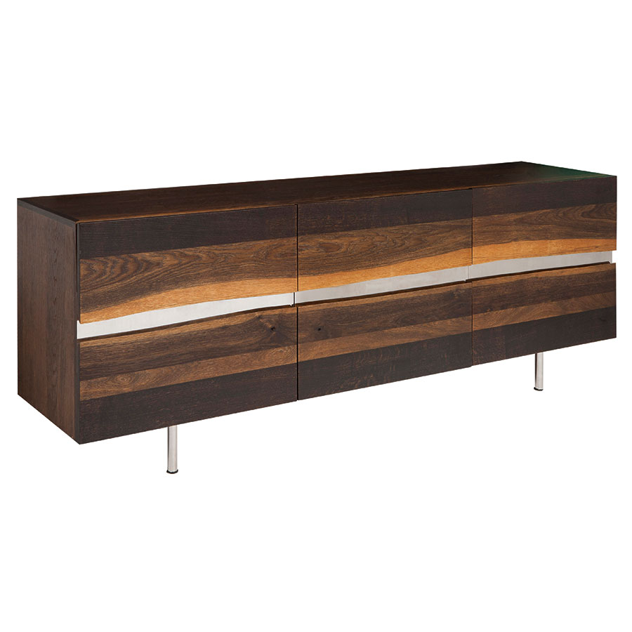 Swanson Large Seared Oak + Metal Contemporary Sideboard