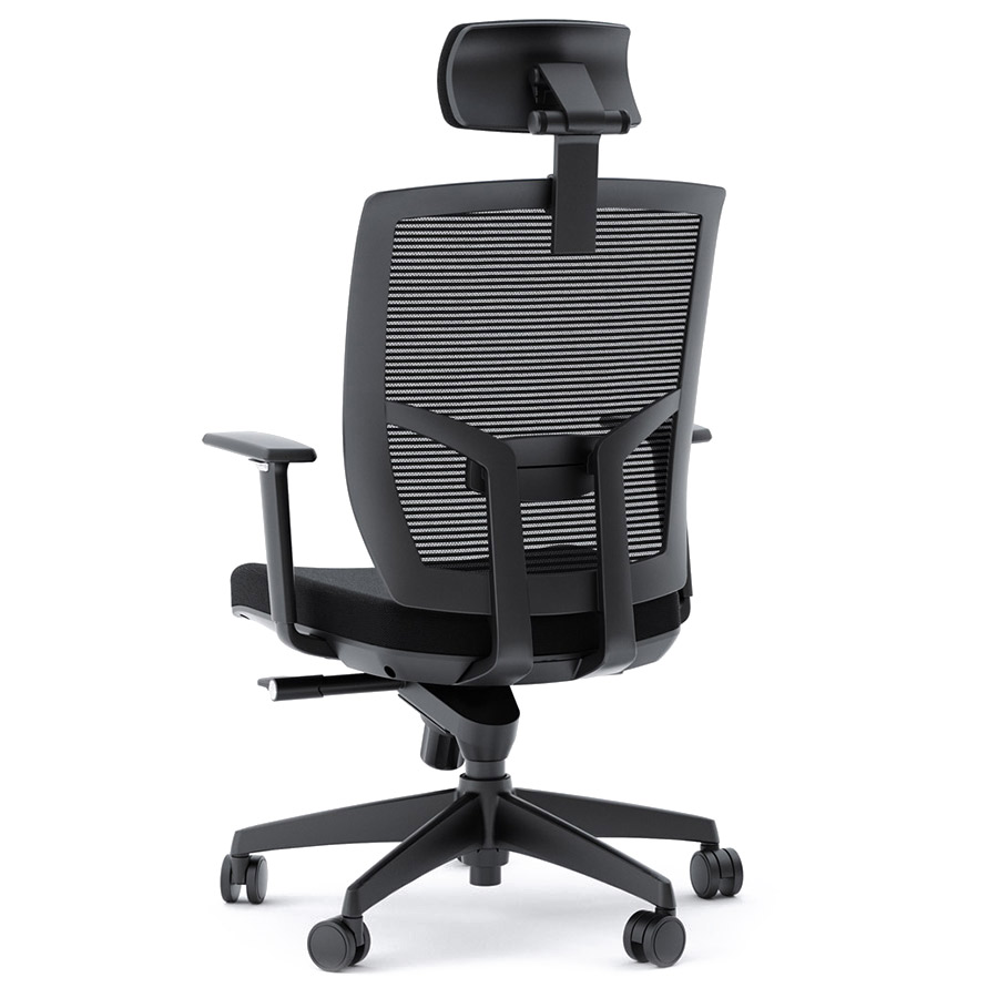 cloth office chairs. BDI TC-223 Black Fabric Office Chair - Back View Cloth Chairs