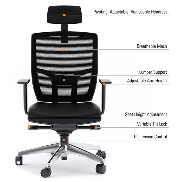Bdi Tc 223 Black Leather Office Chair Features