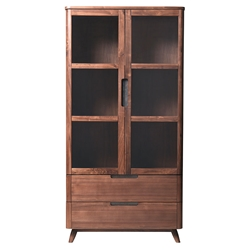 Tahoe Modern Walnut Display China Cabinet