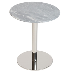 Talca Gray Marble + Polished Stainless Steel Modern Side Table