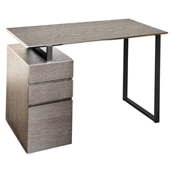 Talia Gray Desk with File Cabinet