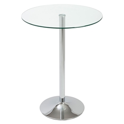 "Tampa Chrome Base + Clear Tempered Glass Top 32"" Modern Bar Table"