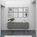 BDI Tanami Fog Gray Sculpted Panel Modern Storage Credenza + Media Stand - Room Shot