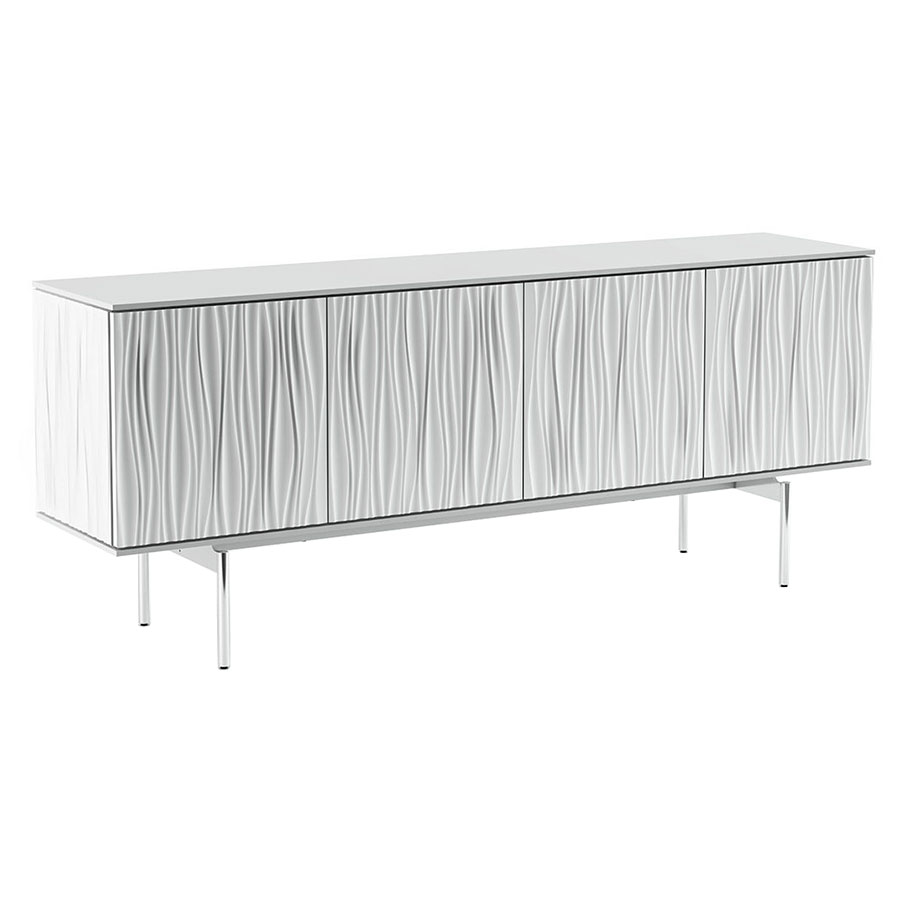 BDI Tanami White Sculpted Panel Modern Storage Credenza + Media Stand