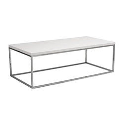 Teresa Modern White + Chrome Cocktail Table