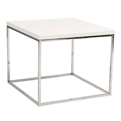Teresa Modern White + Chrome End Table