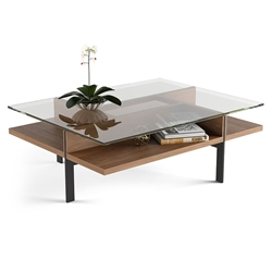 Terrace Modern Rectangular Walnut Coffee Table