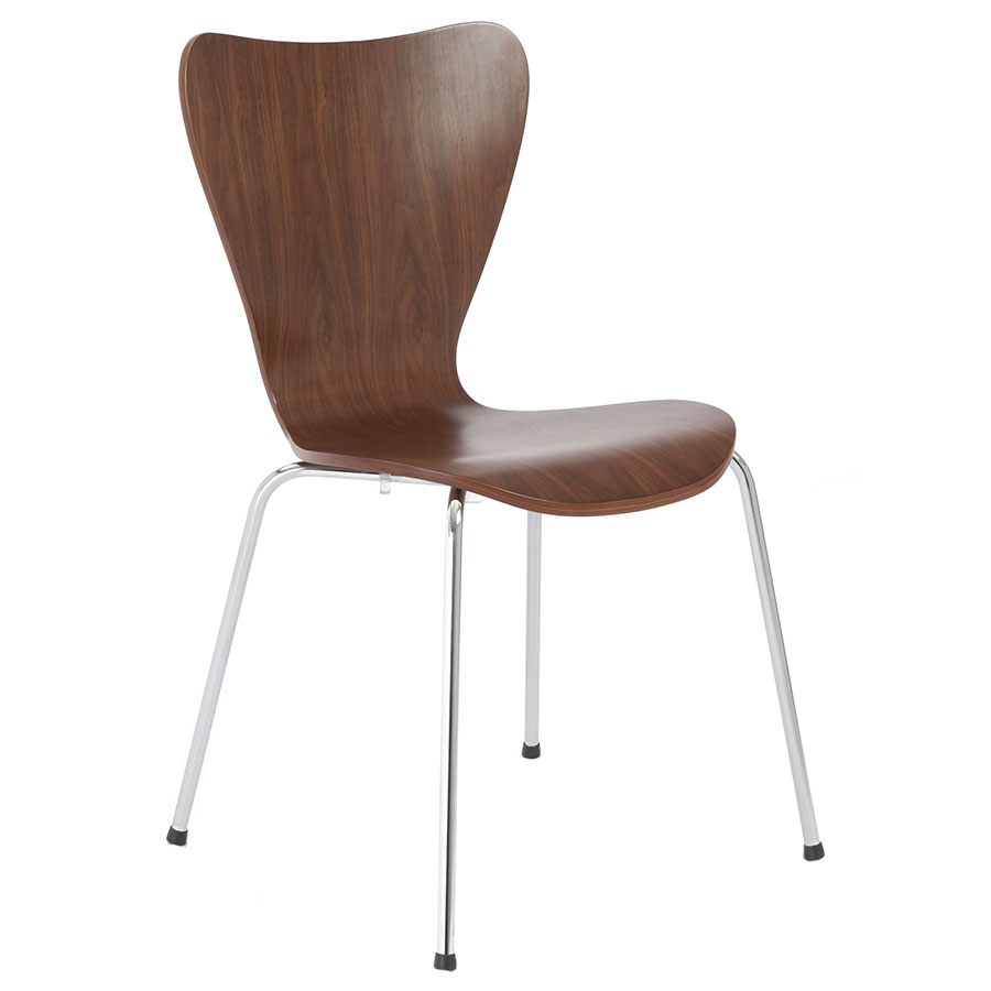 Terrell Walnut + Chrome Modern Professional Grade Dining Chair