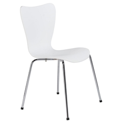 Terrell White + Chrome Modern Professional Grade Dining Chair
