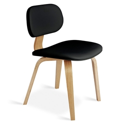 Gus* Modern Thompson Chair in Black Vinyl Upholstery with Molded Oak Plywood Frame