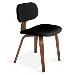 Gus* Modern Thompson Chair in Black Vinyl Upholstery with Molded Walnut Plywood Frame