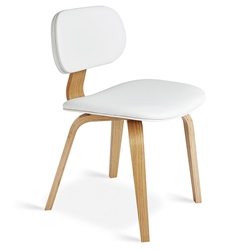 Gus* Modern Thompson Chair in White Vinyl Upholstery with Molded Oak Plywood Frame