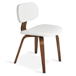 Gus* Modern Thompson Chair in White Vinyl Upholstery with Molded Walnut Plywood Frame