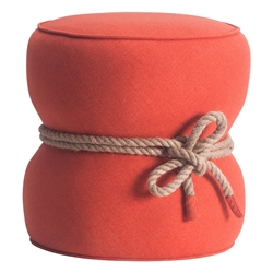 Tippy Orange Contemporary Ottoman