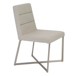 Toledo Light Gray Fabric + Brushed Stainless Steel Modern Dining Side Chair