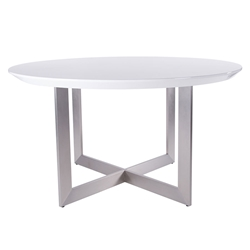 Toledo High Gloss White Lacquer + Brushed Stainless Steel Round Modern Dining Table