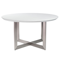 Toledo Matte White + Brushed Metal Contemporary Round Dining Table
